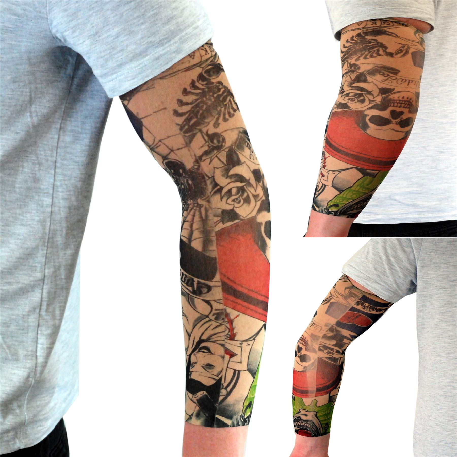 11 Style Fake Arm Tattoo Nylon Sleeve Party Theme Dress Up Rocker with regard to dimensions 1800 X 1800