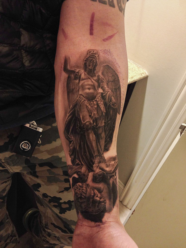 24 Archangel Michael Tattoos On Forearm pertaining to proportions 768 X 1024