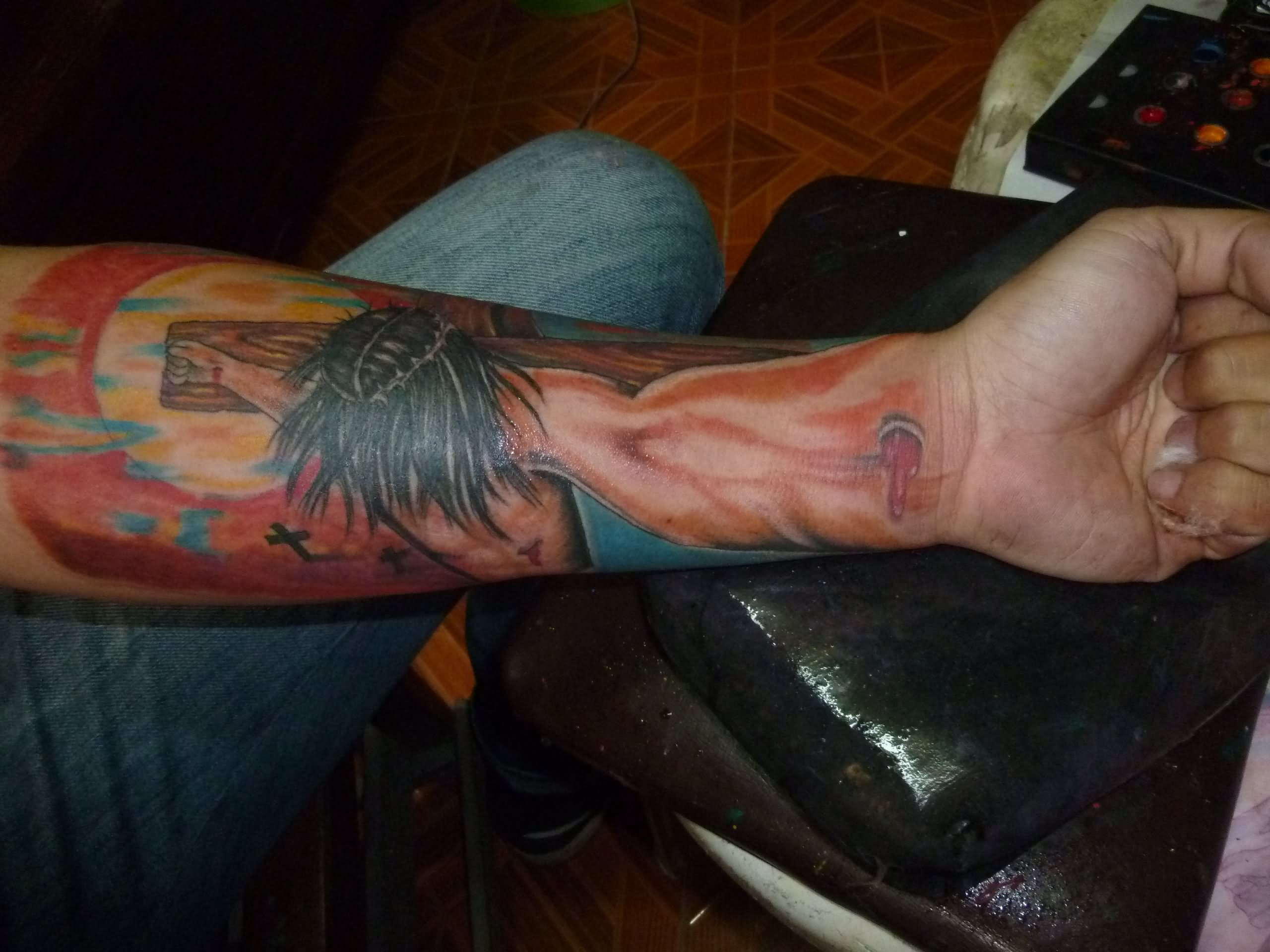 3d Jesus Cross Tattoo On Left Forearm intended for dimensions 2560 X 1920