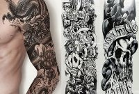 5 Sheets Full Arm Sleeve Temporary Disposable Tattoos Fake Skull Art for proportions 1000 X 1000
