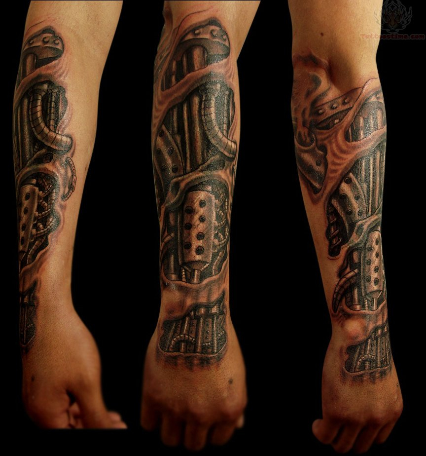 54 Mechanical Sleeve Tattoos for dimensions 864 X 924