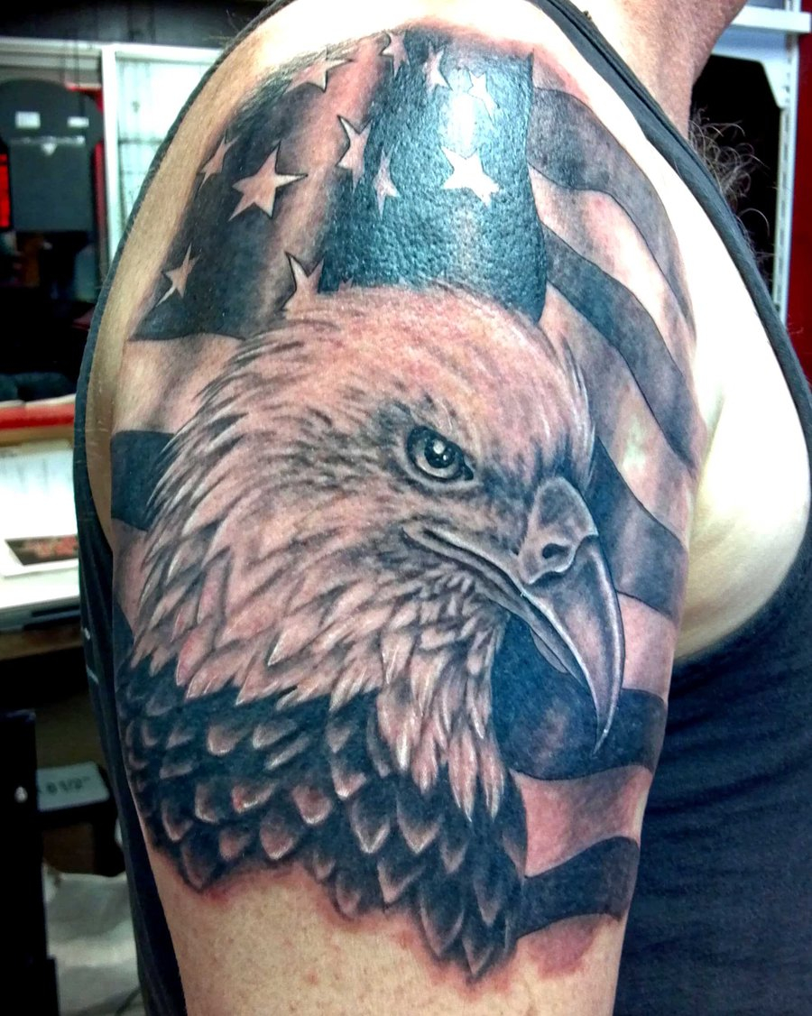 95 Bald Eagle With American Flag Tattoos Designs With Meanings For Sizing