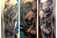 Amazing Grey Ink Biomechanical Tattoo On Half Sleeve Random with measurements 960 X 960