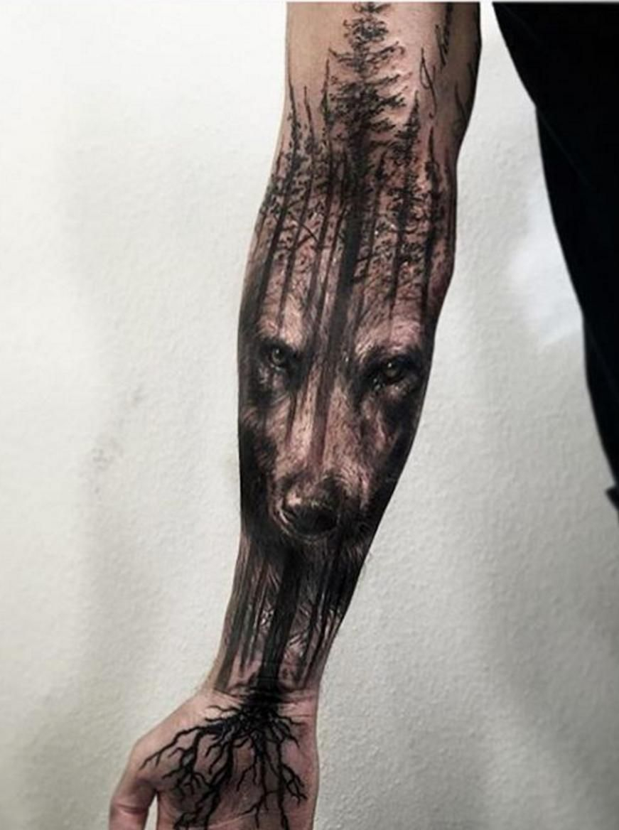 Amazing Wolf Tree Tattoo Jak Connolly At Equilattera In Miami intended for dimensions 871 X 1168