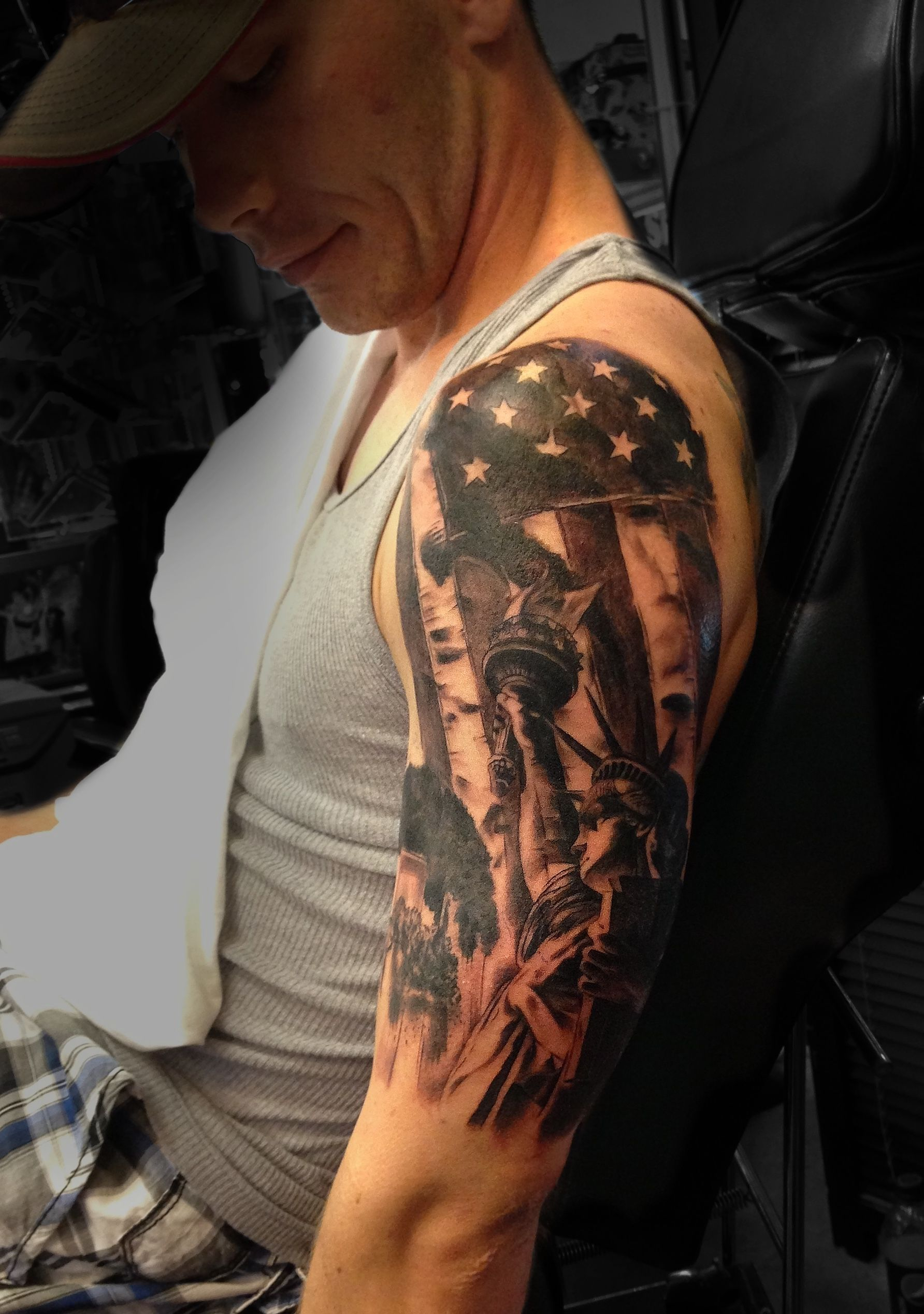 American Flag Liberty Half Sleeve Tattoo Done Angela Grace At With Regard To Measurements 1784 X