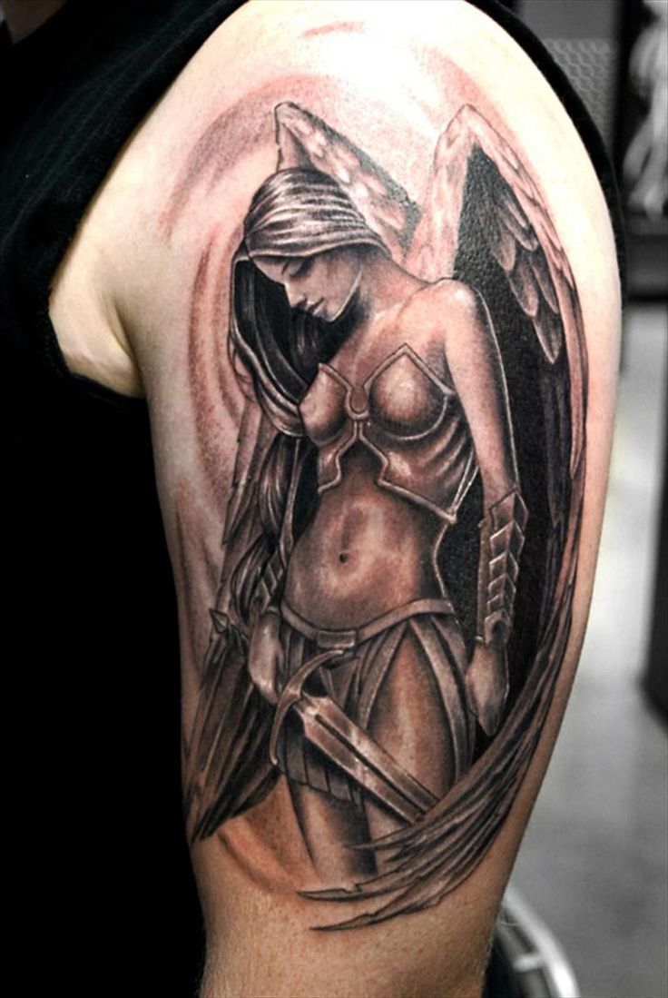Angel Girl With Sword Tattoo On Half Sleeve intended for sizing 736 X 1099