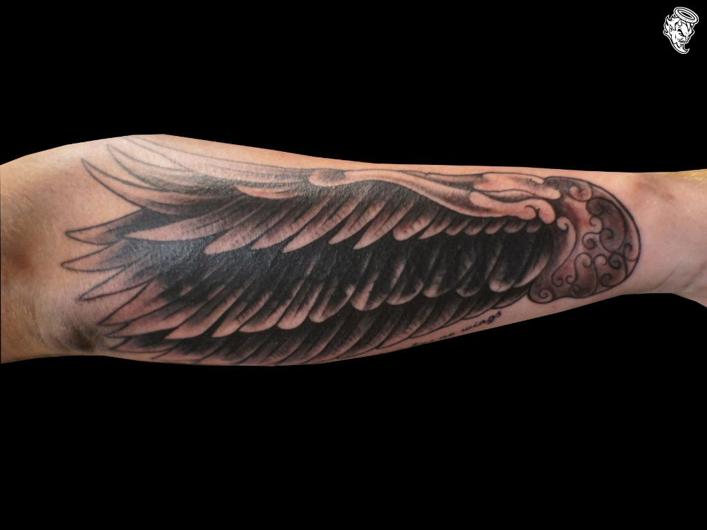 Angel Wing Tattoo On Forearm Arm Wing Tattoo Love Notes with regard to dimensions 1024 X 768