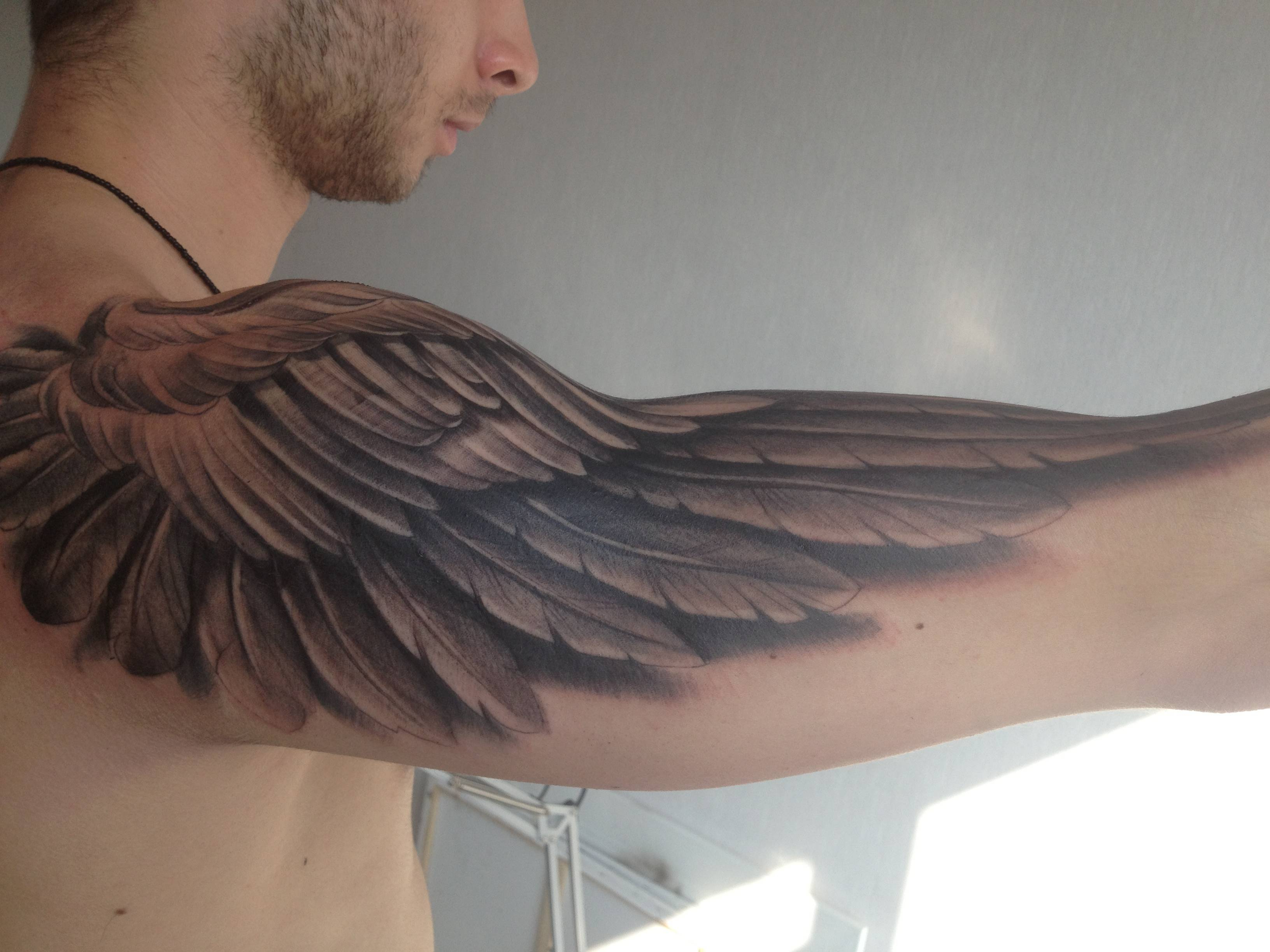 Angel Wings Tattoo Arm Wings Back Tattoos And Wing Tattoos On intended for proportions 3264 X 2448
