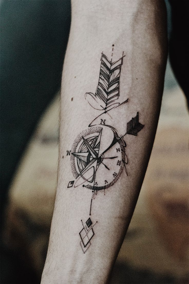 Arrow Compass Tattoo Artwork Outsider Tattoo Tattoo intended for sizing 736 X 1104
