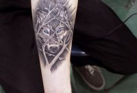 Awesome Wolf Behind Tree Branches Forearm Tattoo Tattoos for proportions 800 X 1200