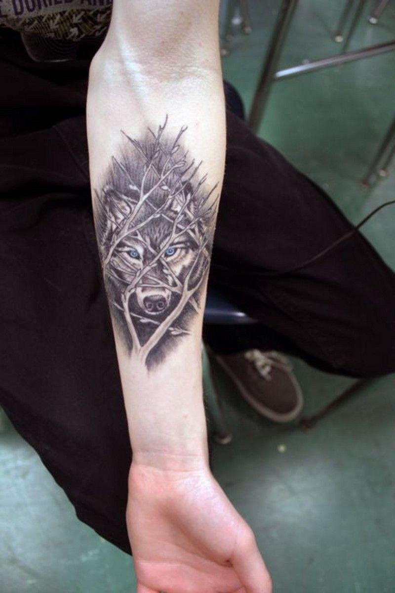 Awesome Wolf Behind Tree Branches Forearm Tattoo Tattoos inside measurements 800 X 1200
