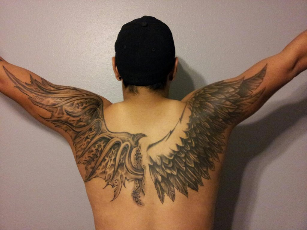 Bat Wings Tattoo Design On Upper Back Tattoo Ideas for sizing 1024 X 768