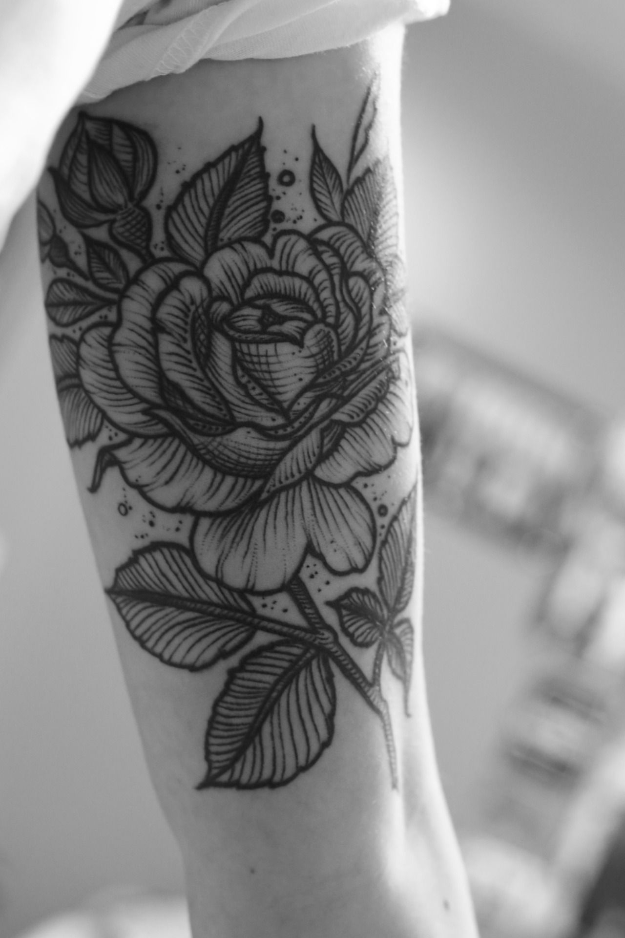 Beautiful Black And White Rose Tattoo On Arm Love It Time For A in proportions 1280 X 1920