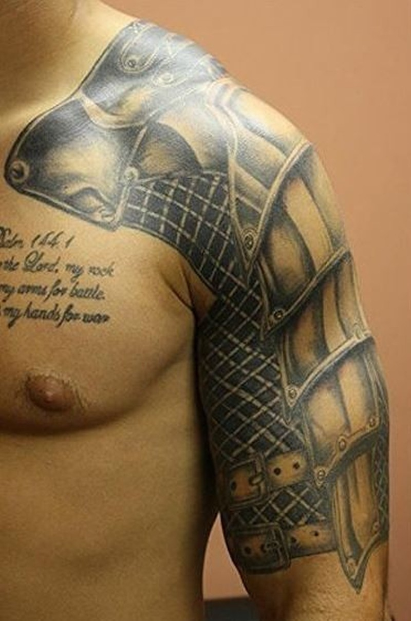 Beautiful Medieval Armor Tattoo On Upper Arm inside measurements 800 X 1209