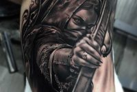 Best 3d Arm Tattoo Of Scary Girl With Bow And Arrow Goluputtar with proportions 870 X 907
