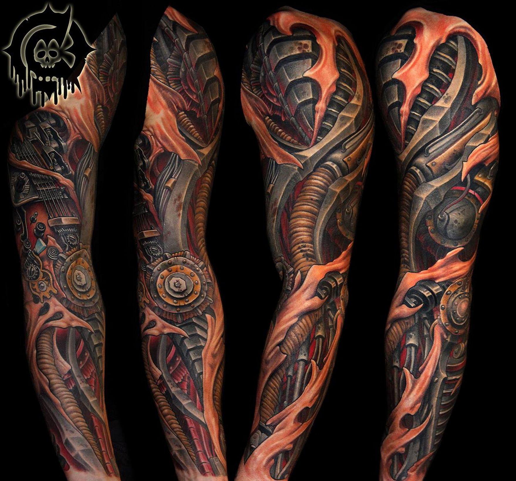Biomechanical Tattoo Sleeve Julian Siebert Biomechanical inside proportions 1758 X 1637