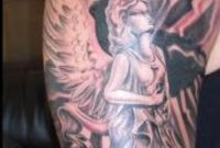 Black And Grey Angel Tattoo On Half Sleeve intended for dimensions 800 X 1592
