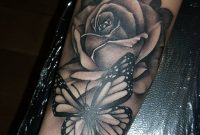 Black And Grey Butterfly Tattoo 43 Beautiful Forearm Rose Tattoos pertaining to measurements 1080 X 1080
