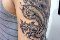 Black And Grey Chinese Dragon Tattoo On Left Half Sleeve in size 1940 X 2594