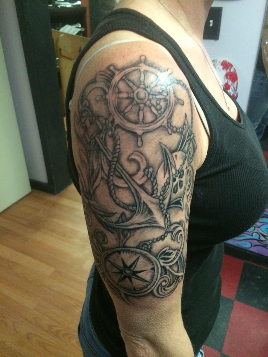 Black And Grey Compass Tattoo Nautical Tattoo Half Sleeve inside size 852 X 1136