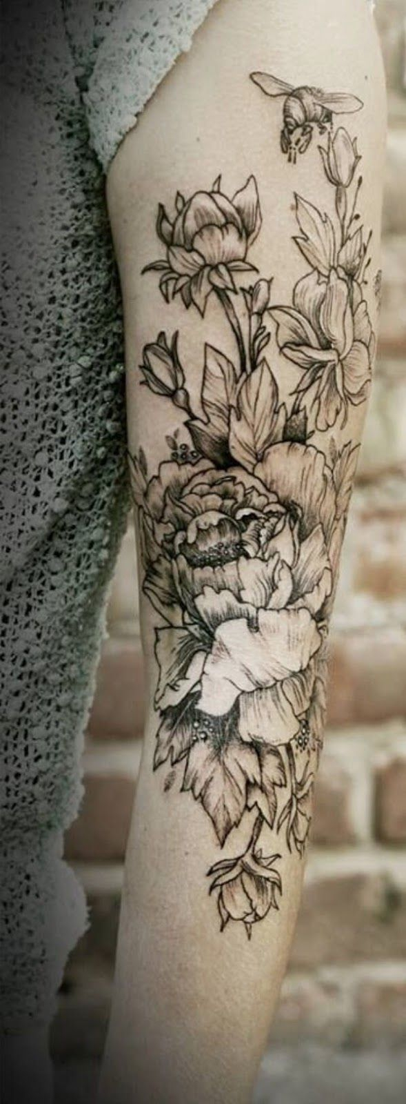 Black And White Floral Arm Tattoo Tattoo Trends Flowers I Will in sizing 589 X 1600