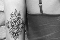 Black And White Rose Tattoo On The Back Of The Arm with dimensions 1111 X 1112