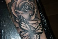 Black Ink Rose Design Butterfly Forearm Butterfly Tattoos Design inside size 1024 X 1024
