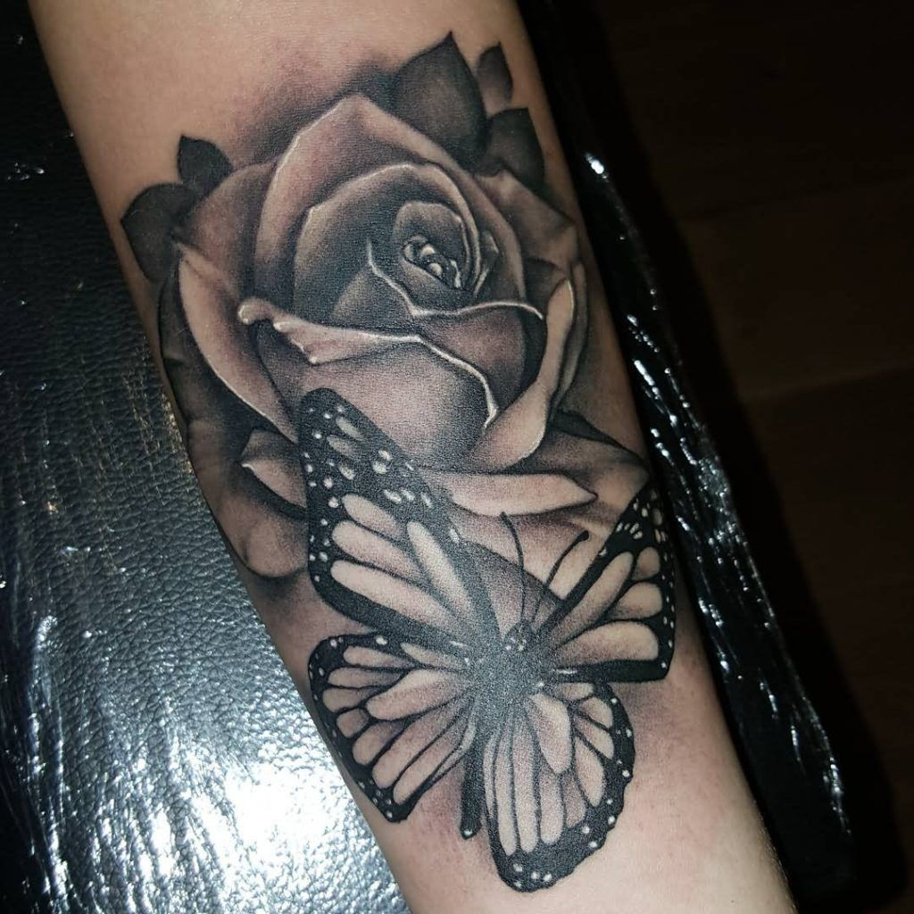Black Ink Rose Design Butterfly Forearm Butterfly Tattoos Design with regard to dimensions 1024 X 1024