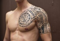 Black Ink Samoan Tribal Half Sleeve Tattoo throughout proportions 1055 X 850