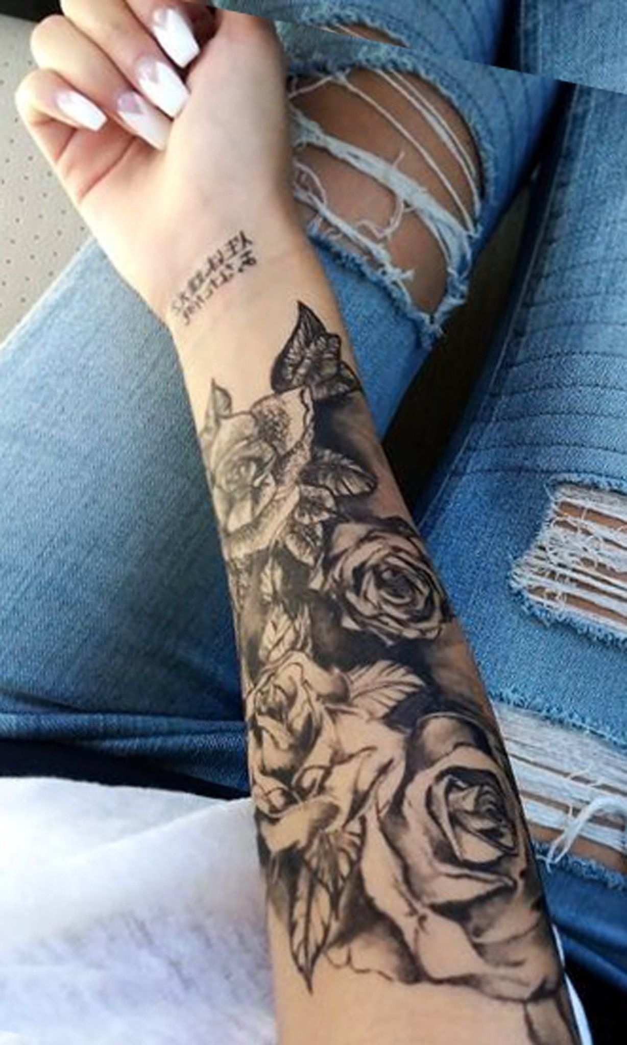 Black Rose Forearm Tattoo Ideas For Women Realistic Floral Flower for size 1228 X 2048
