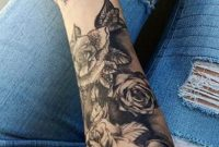 Black Rose Forearm Tattoo Ideas For Women Realistic Floral Flower intended for sizing 1228 X 2048