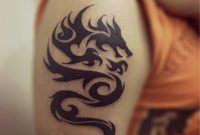 Black Tribal Dragon Tattoo On Upper Left Arm For Men within measurements 819 X 1024