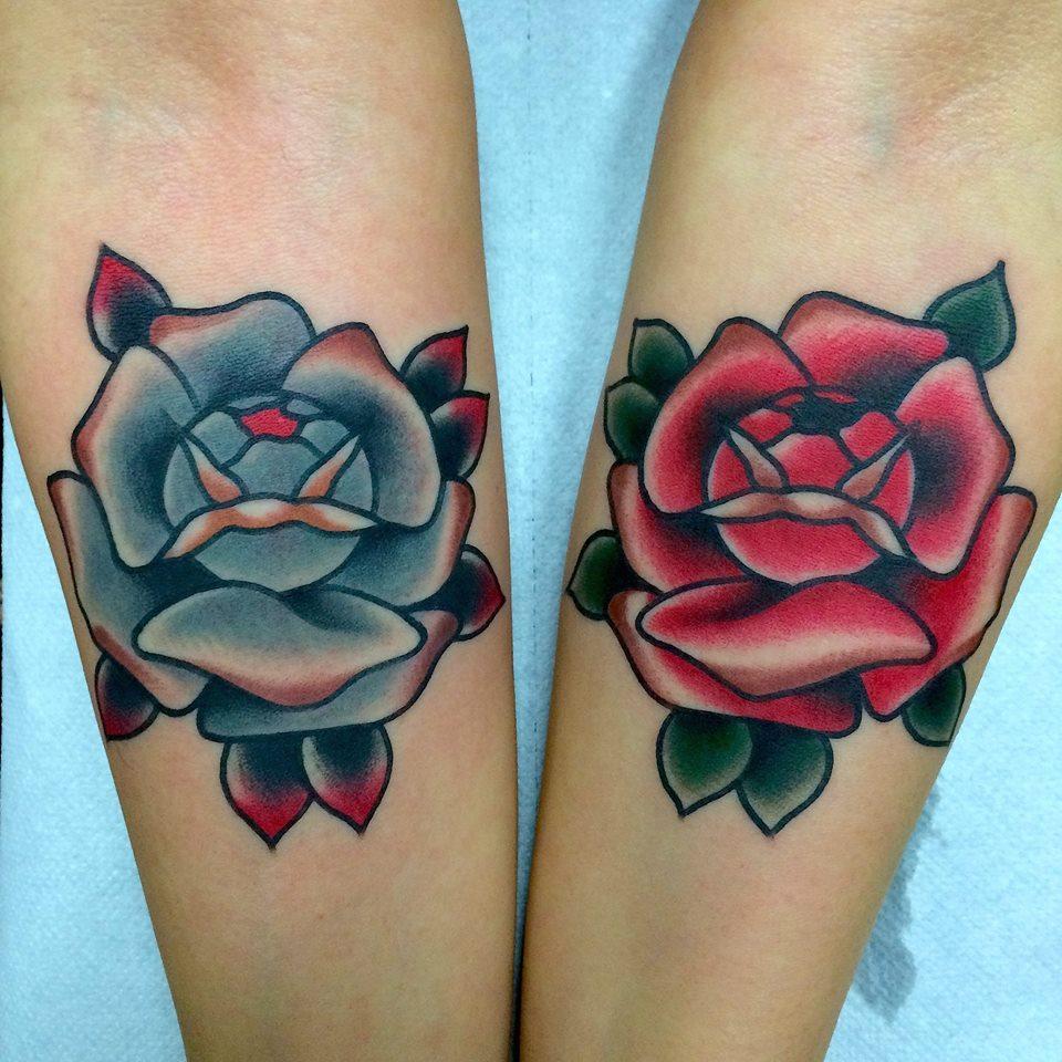 Blue And Red Rose Tattoos On Forearm Fabio Onorini regarding dimensions 960 X 960