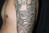 Buddha Tibetan Tattoo On Left Half Sleeve For Men with size 1600 X 2400