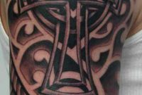 Celtic Cross Worked Into Some Nice Line Work Upper Arm Half Sleeve within measurements 630 X 1359