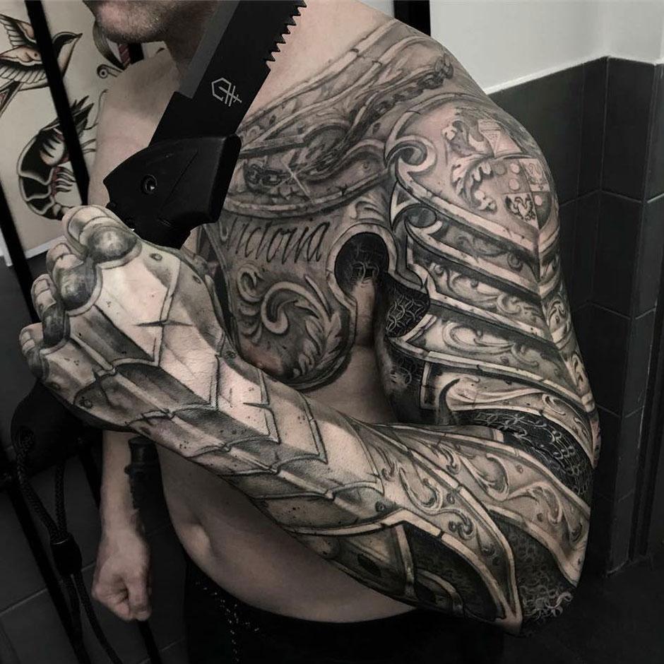 Armor Tattoo chest and arm armor tattoo • arm tattoo sites