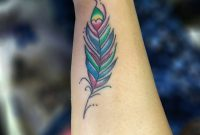 Colorful Feather Tattoo On Outer Forearm intended for dimensions 932 X 960