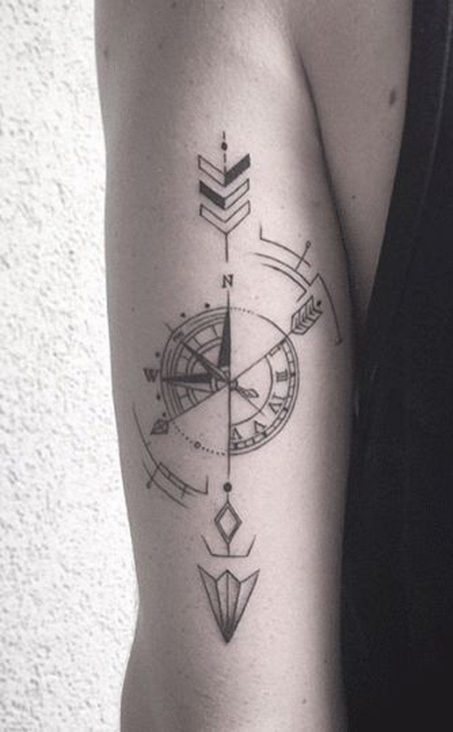 Compass Arrow Back Of Arm Forearm Tattoo Ideas At Mybodiart with size 929 X 1500