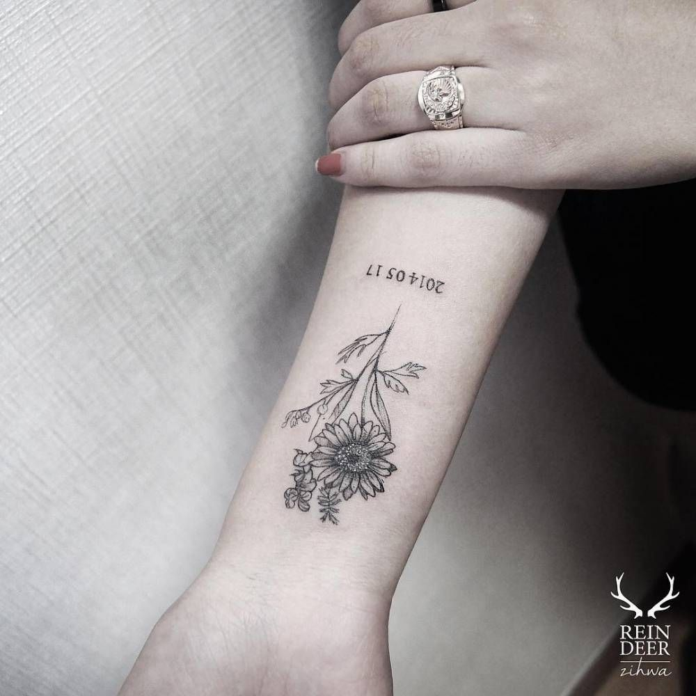 Daisy Tattoo On The Inner Forearm Tattoo Artist Zihwa U with regard to proportions 1000 X 1000
