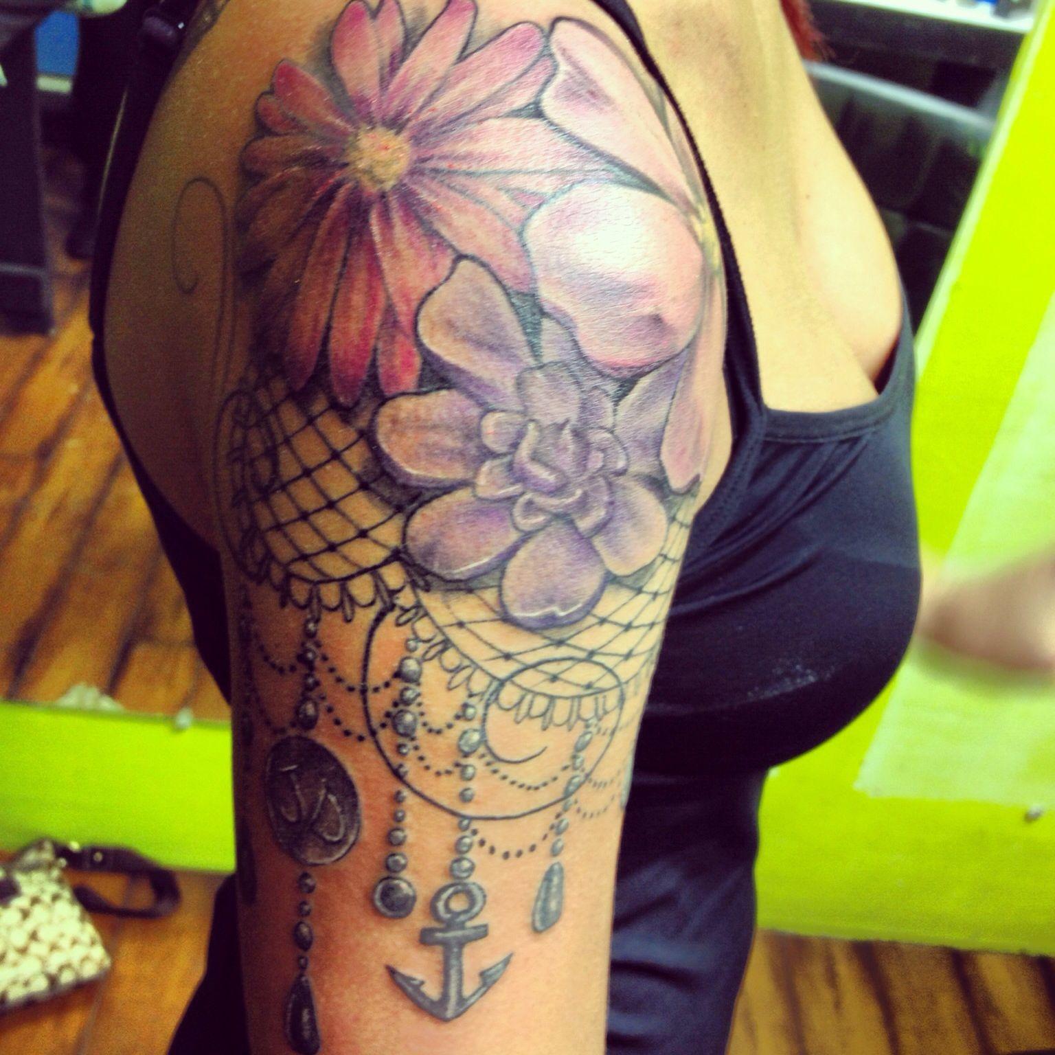 Dream Catcher Flower Lace Tattoo Half Sleeve Quartersleeve Tattoos regarding dimensions 1536 X 1536