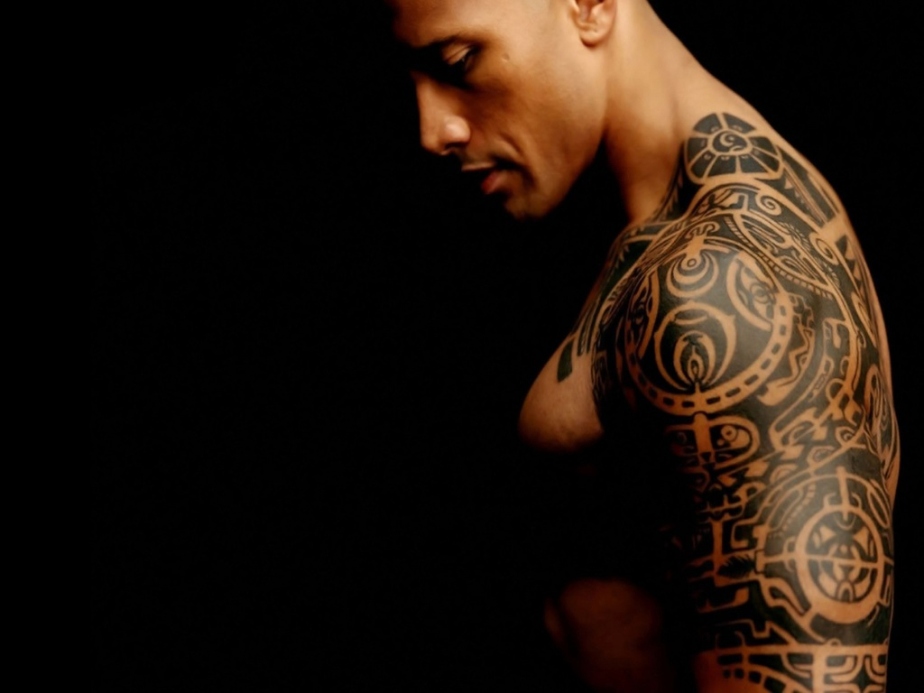 Dwayne The Rock Johnsons 3 Tattoos Their Meanings Body Art Guru within size 1024 X 768