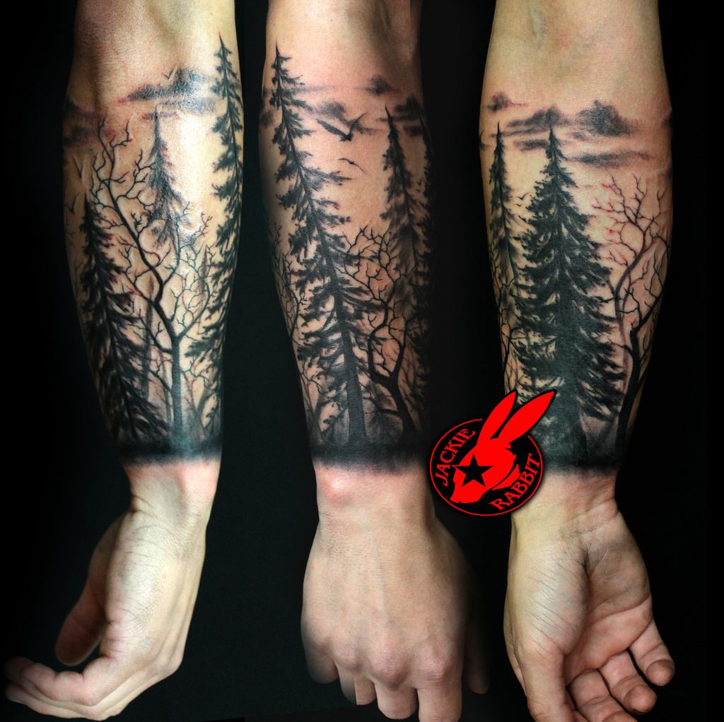 Forest Silhouette Tattoo Tree Silhouette Forest Pine Arm Sleeve with regard to proportions 1024 X 1022