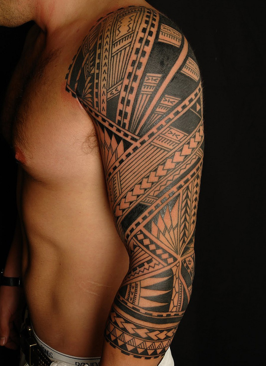 Full Sleeve Polynesian Tribal Art Form Tattoo Design Tattoomagz for size 900 X 1241