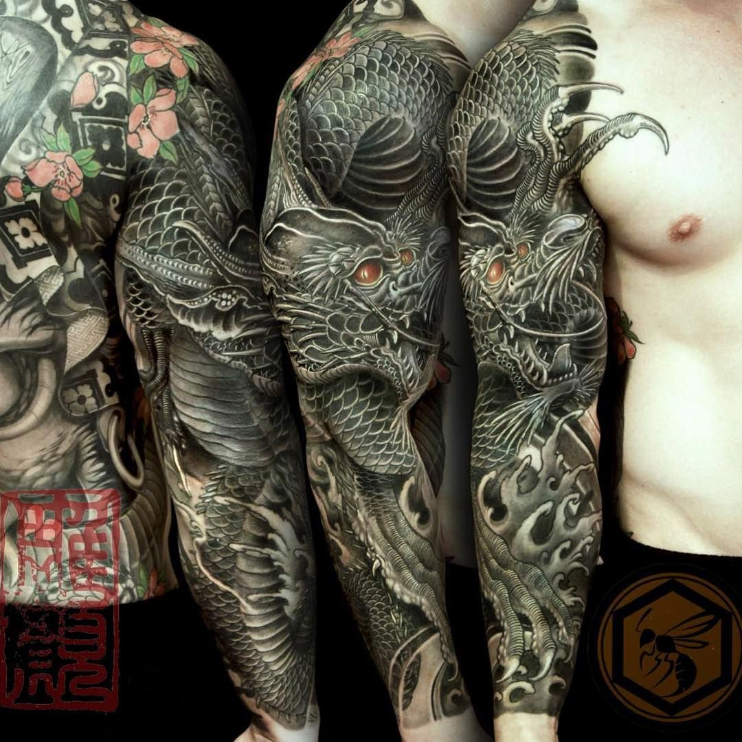 Full Sleeve Tattoo Is Completed With A Black Dragon Representing throughout dimensions 1080 X 1080