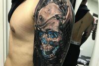 Futuristic Skull Mens Upper Arm Piece Best Tattoo Design Ideas with regard to dimensions 1065 X 1232