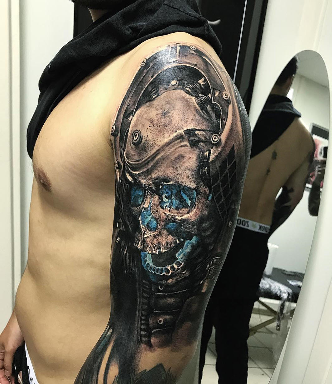 Futuristic Skull Mens Upper Arm Piece Best Tattoo Design Ideas with regard to dimensions 1065 X 1232