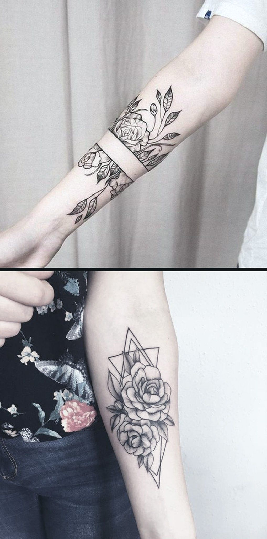 Geometric Diamond Rose Forearm Tattoo Ideas For Women Black Wild throughout proportions 1018 X 2048