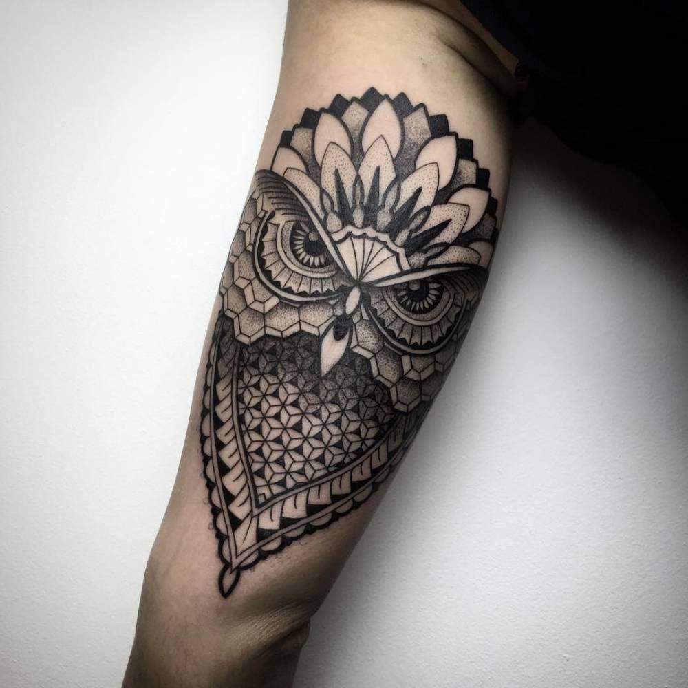Geometricblackwork Style Owl Tattoo On The Left Inner Arm Tattoo regarding measurements 1000 X 1000