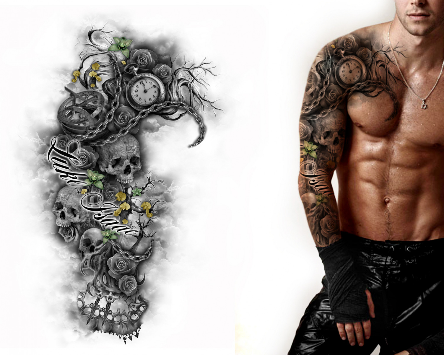 Get Chest And Sleeve Tattoos Designs Amazing Tattoo Top Template Regarding Size 1503 X 1202