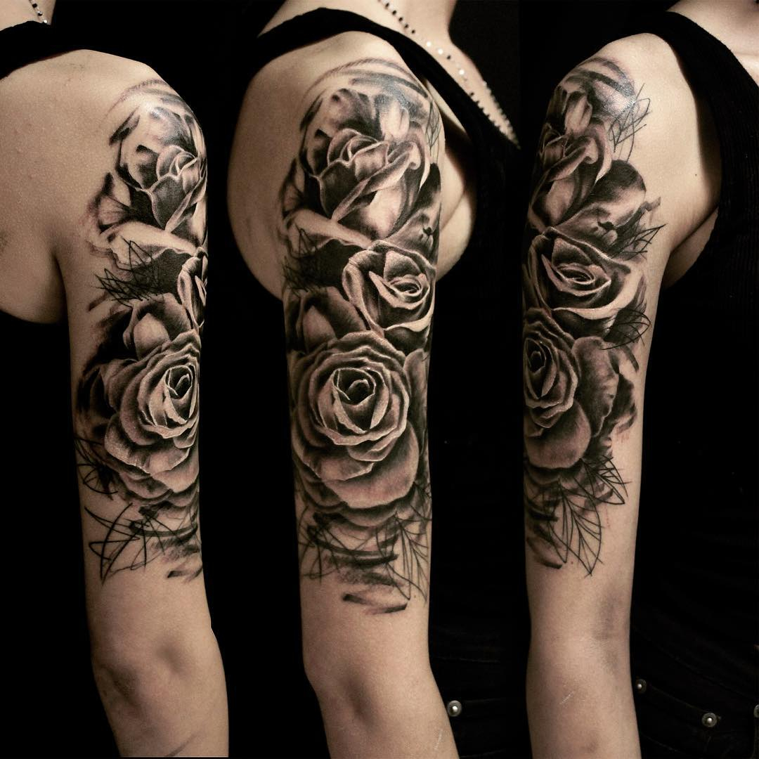 Graphic Roses On Shoulder Tattoo Best Tattoo Ideas Gallery pertaining to proportions 1080 X 1080